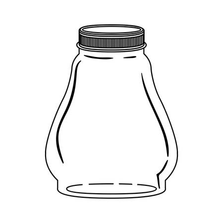 hip flask: silhouette glass container with lid vector illustration