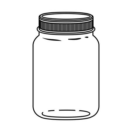 hip flask: silhouette jar of jam with lid vector illustration