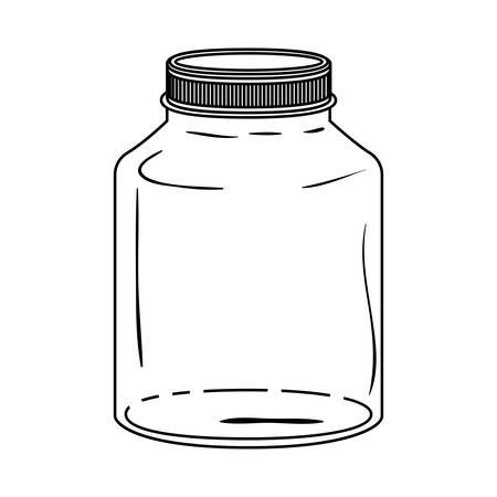 hip flask: silhouette glass wide container with lid vector illustration