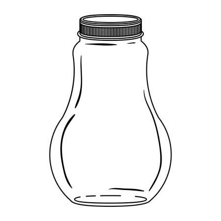hip flask: silhouette wide glass bottle with lid vector illustration