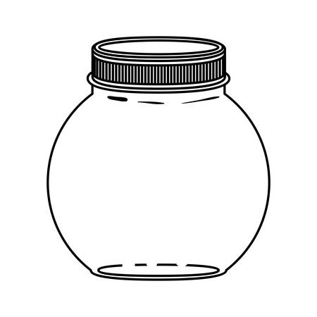 hip flask: silhouette circular glass container with lid vector illustration