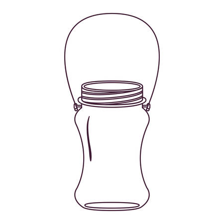 silhouette curved glass container with handle vector illustration Illustration