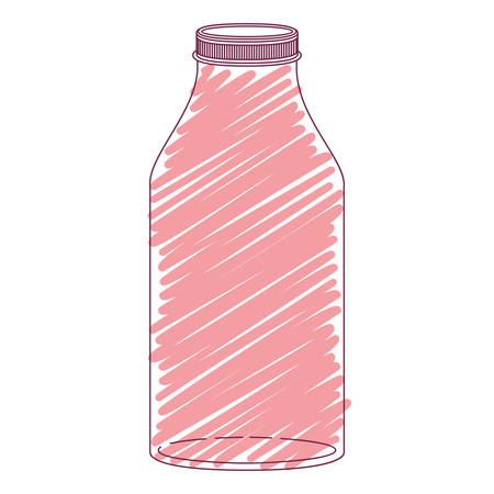 silhouette glass bottle with red stripes vector illustration