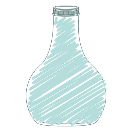 hip flask: silhouette wide glass bottle down with blue stripes vector illustration