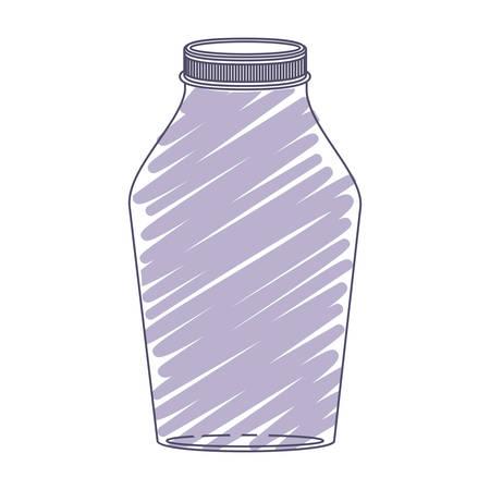 hip flask: silhouette glass jar with purple stripes vector illustration Illustration