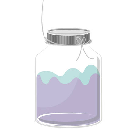 cruet: silhouette glass container with colorful liquid vector illustration Illustration
