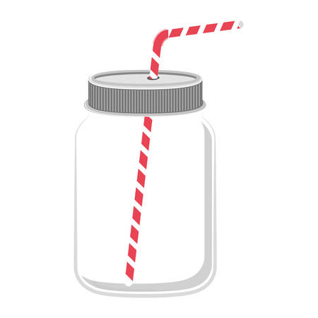 red straw: glass jar with red straw vector illustration