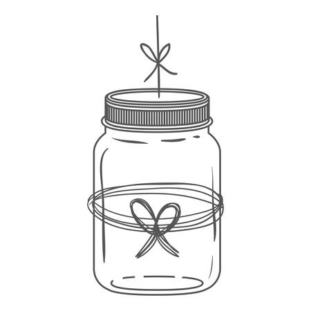 silhouette glass jar with thread in bow shape vector illustration Illustration