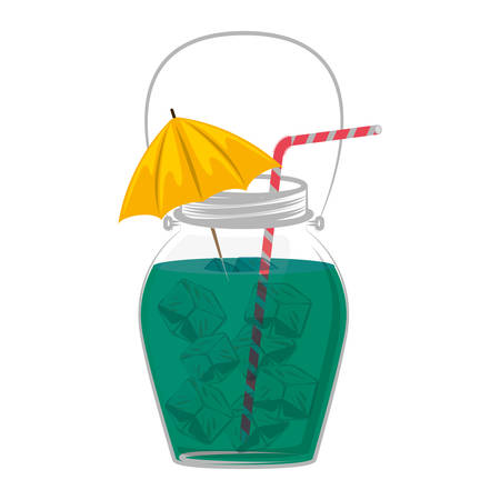 decanter: cocktail drink decorated with umbrella and ice cubes vector illustration