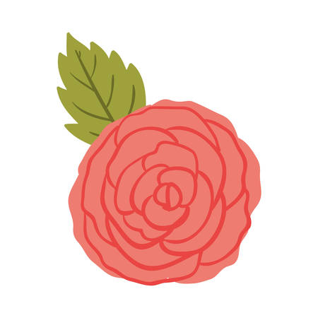 ramification: silhuette red rose with leaf vector illustration