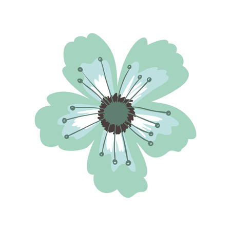 ramification: green petals of flower with pistils vector illustration