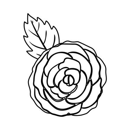 silhuette: black silhuette rose with leaf vector illustration