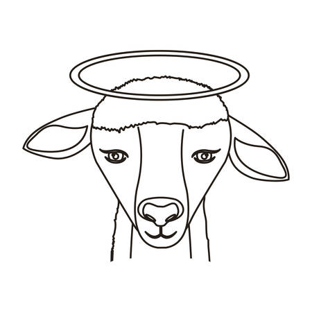 bighorn: silhouette of face of lamb animal with halo over white background. vector illustration
