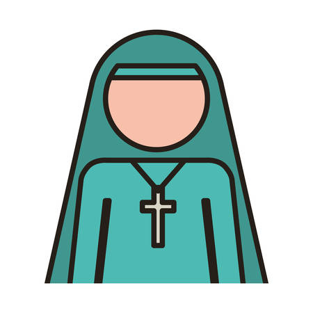 woman nun with religious cross icon over white background. vector illustration