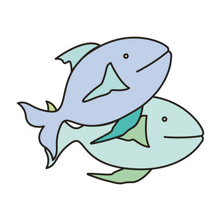 water ecosystem: fish animal icon over white background. colorful design. vector illustration
