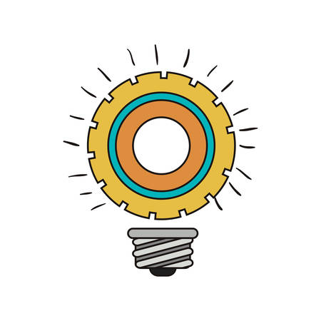 bulb light in gear shape icon over white background. colorful design. vector illustration