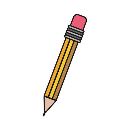 yellow pencil with eraser icon over white background. vector illustration
