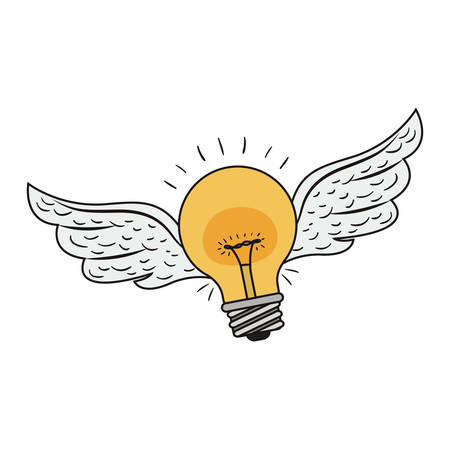 yellow bulb light with wings flying over white background. vector illustration Illustration