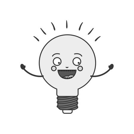 silhouette of cartoon bulb light icon with happy expression over white background. vector illustration