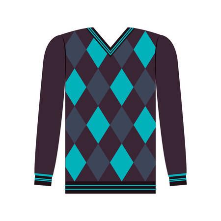 blaue und schwarze Männer Pullover Symbol auf weißen Hintergrund. Winterkleidung Design. Vektor-Illustration
