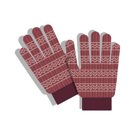 rote Handschuhe Zubehör Symbol auf weißem Hintergrund. Winterkleidung Design. Vektor-Illustration