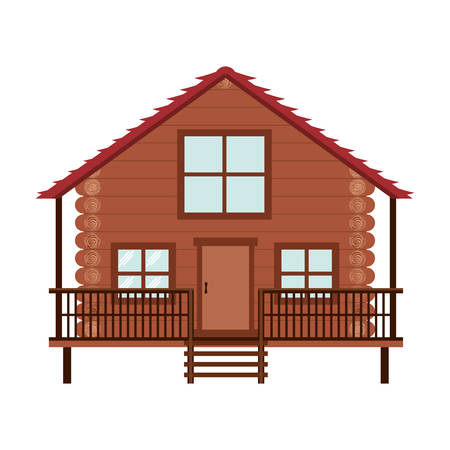 log cabin: log cabin icon over white background. wooden house. vector illustration Illustration