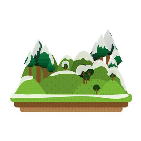 wilderness area: snowy mountains icon. winter landscape design. vector illustration