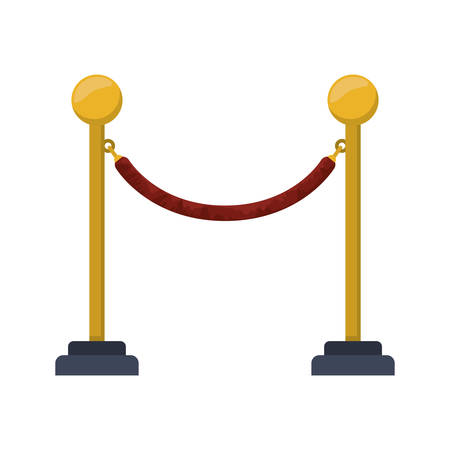 rope barrier: barrier rope icon over white background. cinema fence. vector illustration