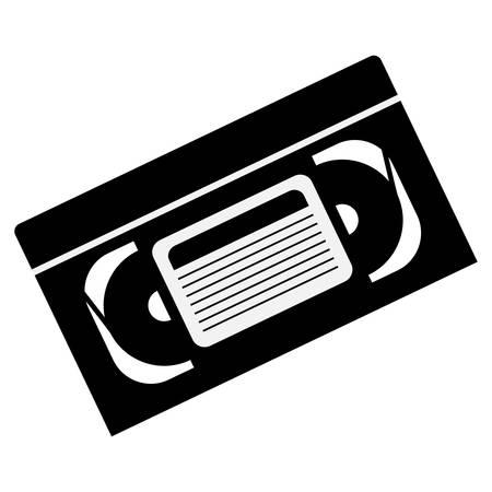videocassette: silueta de la cinta de video icono de cinta adhesiva sobre fondo blanco. ilustración vectorial Vectores