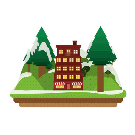 new zealand landscape: building and snowy mountains icon. winter landscape design. vector illustration