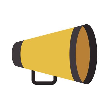 Geel regisseurs megafoon pictogram op witte achtergrond. bioscoop design. vector illustratie