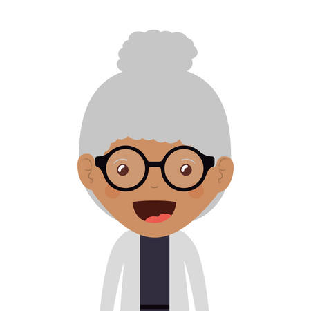 white blouse: cartoon happy old woman wearing beautiful blouse icon over white background. vector illustration