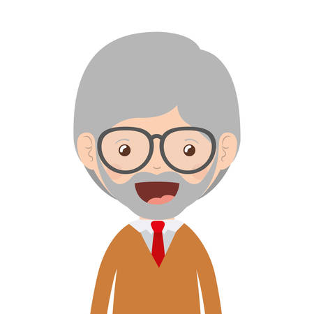 cartoon happy old man wearing beautiful sweater icon over white background. colorful design vector illustration Illustration