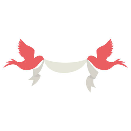 pink doves birds holding a  white ribbon over white background. vector illustration