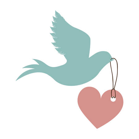 blue dove bird holding a red heart icon over white background. love symbol. vector illustration Illustration