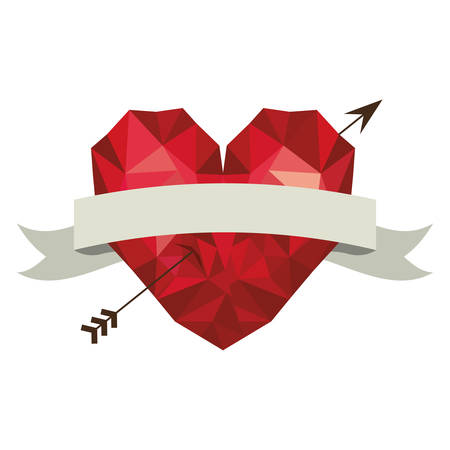 abstract red heart with arrow and ribbon over white background. love symbol. vector illustration