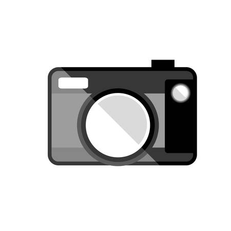 ove: silhouette of photographic camera device icon ove white background. vector illustration Illustration