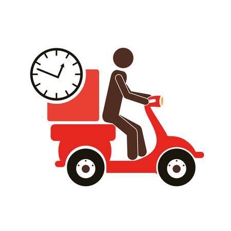 homme chevauchant une moto scooter avec une icône de boîte. la livraison et la conception de l'expédition. illustration vectorielle