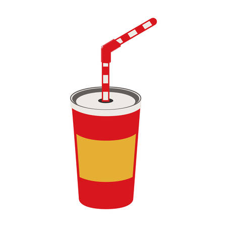 soft soda drink with straw icon over white background. colorful design. vector illustration,m