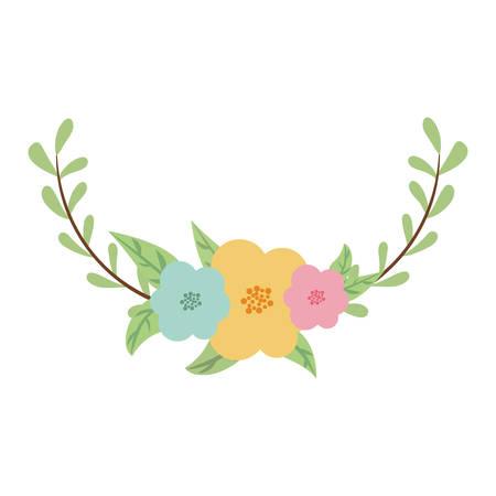 couronne décorative avec des feuilles vertes ovales et une icône de fleurs sur fond blanc. design coloré. illustration vectorielle