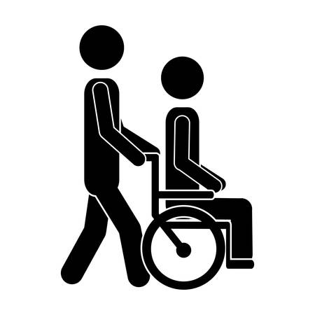 person walking and carrying a wheelchair icon over white background. pictogram design. vector illustration