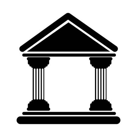 silhouette of bank building icon over white background. vector illustration
