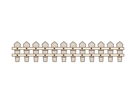 fencepost: white wooden fence icon over white background. vector illustration