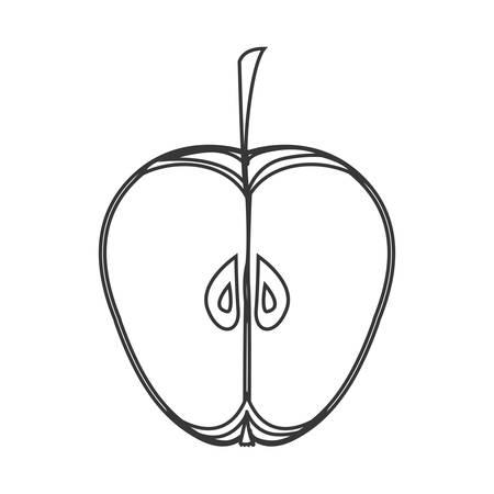 market gardening: silhouette of apple fruit icon. healthy food design. vector illustration