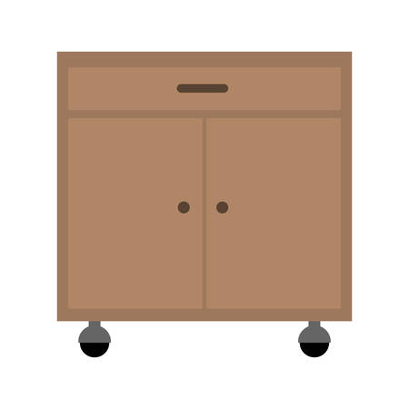 Office Cabinet Drawers Wooden With Wheels Over White Background. Vector  Illustration Stock Vector   65103501