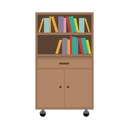 office cabinet: office cabinet drawers wooden with wheels and books over white background. vector illustration Illustration