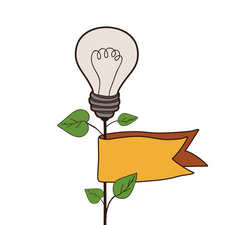 plant with bulb light icon and yellow ribbon over white background. vector illustration