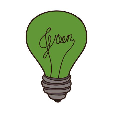 green bulb: green bulb light icon over white background. vector illustraiton Illustration