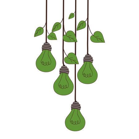 흰색 배경 위에 매달려 전구 빛 식물. 벡터 일러스트 레이 션