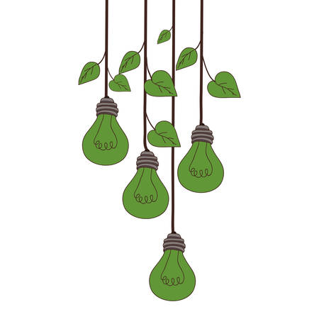 bulb light plants hanging over white background. vector illustration